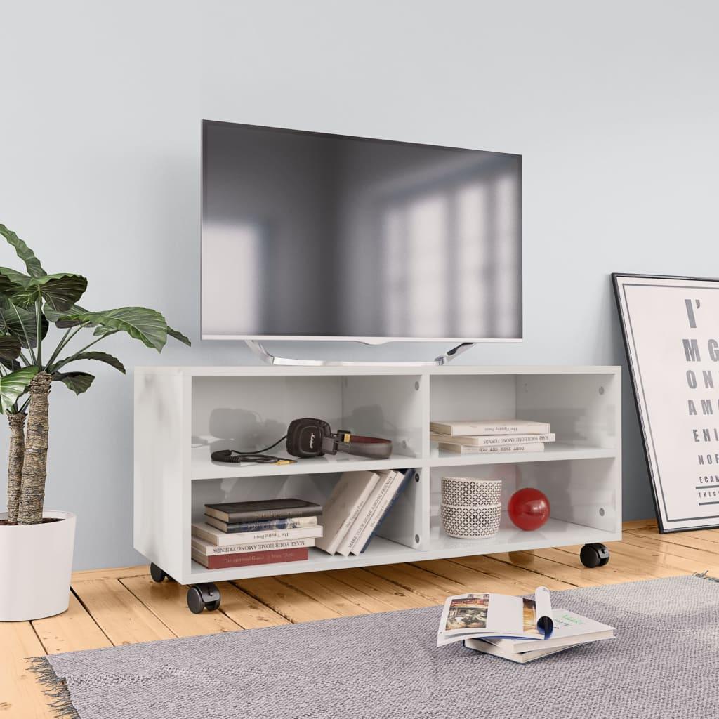TV stolek s kolečky bílý vysoký lesk 90x35x35 cm dřevotříska