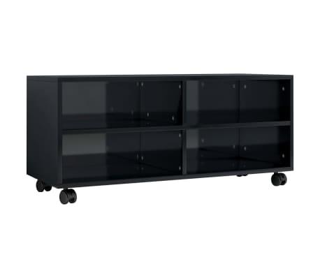 vidaXL magasfényű fekete forgácslap TV-szekrény görgőkkel 90x35x35 cm