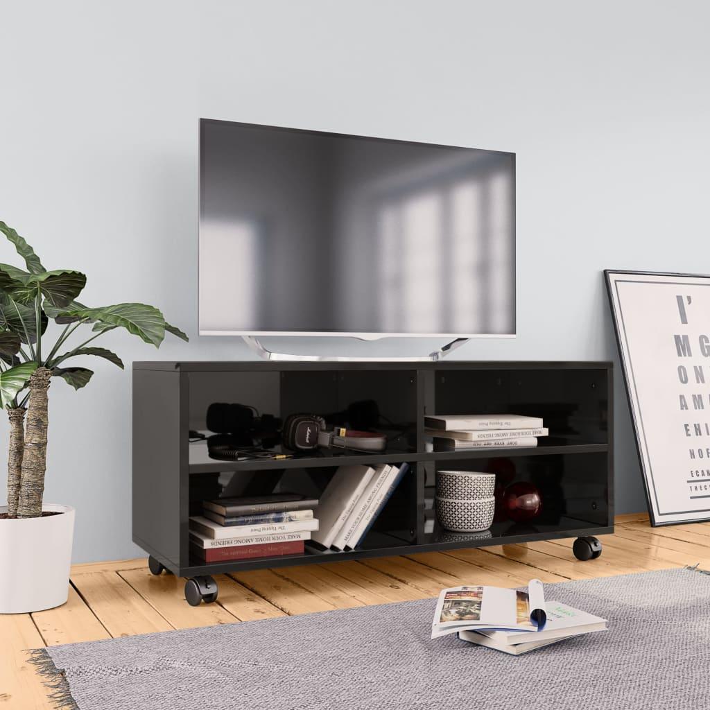 TV stolek s kolečky černý vysoký lesk 90x35x35 cm dřevotříska