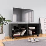 vidaXL TV Cabinet with Castors High Gloss Black 90x35x35 cm Chipboard