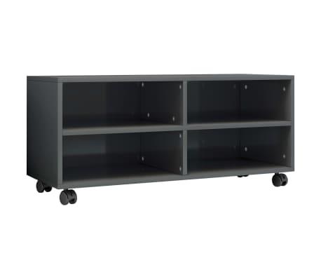 vidaXL magasfényű szürke forgácslap TV-szekrény görgőkkel 90x35x35 cm