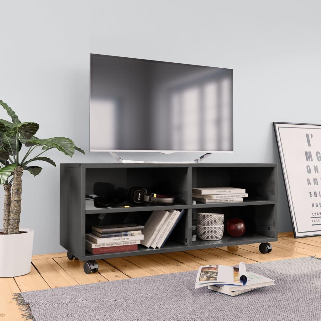 TV stolek s kolečky šedý vysoký lesk 90x35x35 cm dřevotříska
