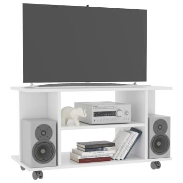 "vidaXL TV Cabinet with Castors White 31.5""x15.7""x15.7"" Chipboard[3/6]"