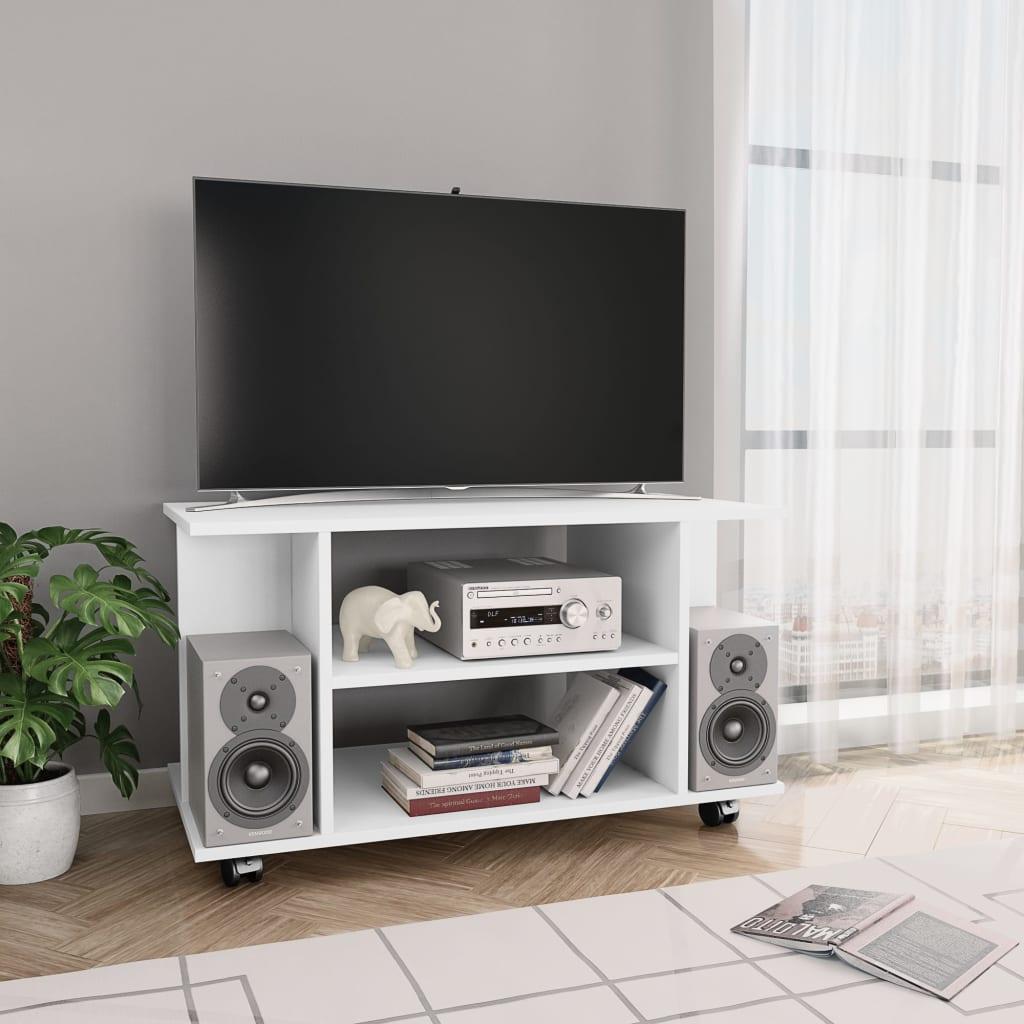 TV stolek s kolečky bílý 80 x 40 x 40 cm dřevotříska