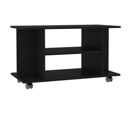 "vidaXL TV Cabinet with Castors Black 31.5""x15.7""x15.7"" Chipboard"