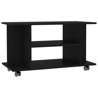 "vidaXL TV Cabinet with Castors Black 31.5""x15.7""x15.7"" Chipboard[2/6]"