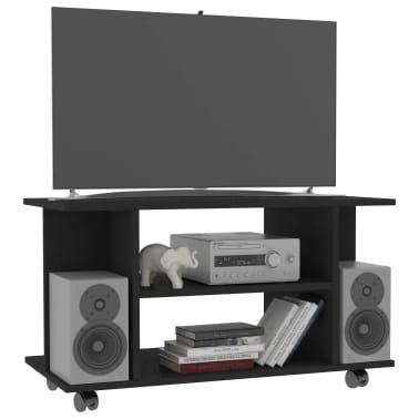"vidaXL TV Cabinet with Castors Black 31.5""x15.7""x15.7"" Chipboard[3/6]"