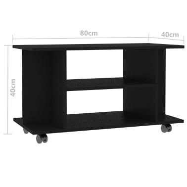 "vidaXL TV Cabinet with Castors Black 31.5""x15.7""x15.7"" Chipboard[6/6]"