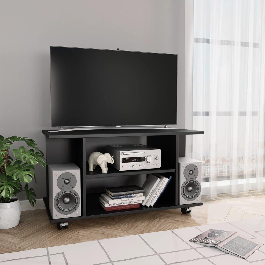 TV stolek s kolečky černý 80 x 40 x 40 cm dřevotříska