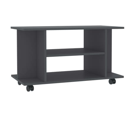 "vidaXL TV Cabinet with Castors Gray 31.5""x15.7""x15.7"" Chipboard[2/6]"