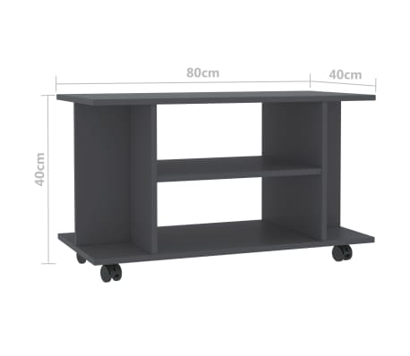 "vidaXL TV Cabinet with Castors Gray 31.5""x15.7""x15.7"" Chipboard[6/6]"