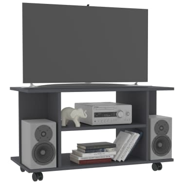 "vidaXL TV Cabinet with Castors Gray 31.5""x15.7""x15.7"" Chipboard[3/6]"