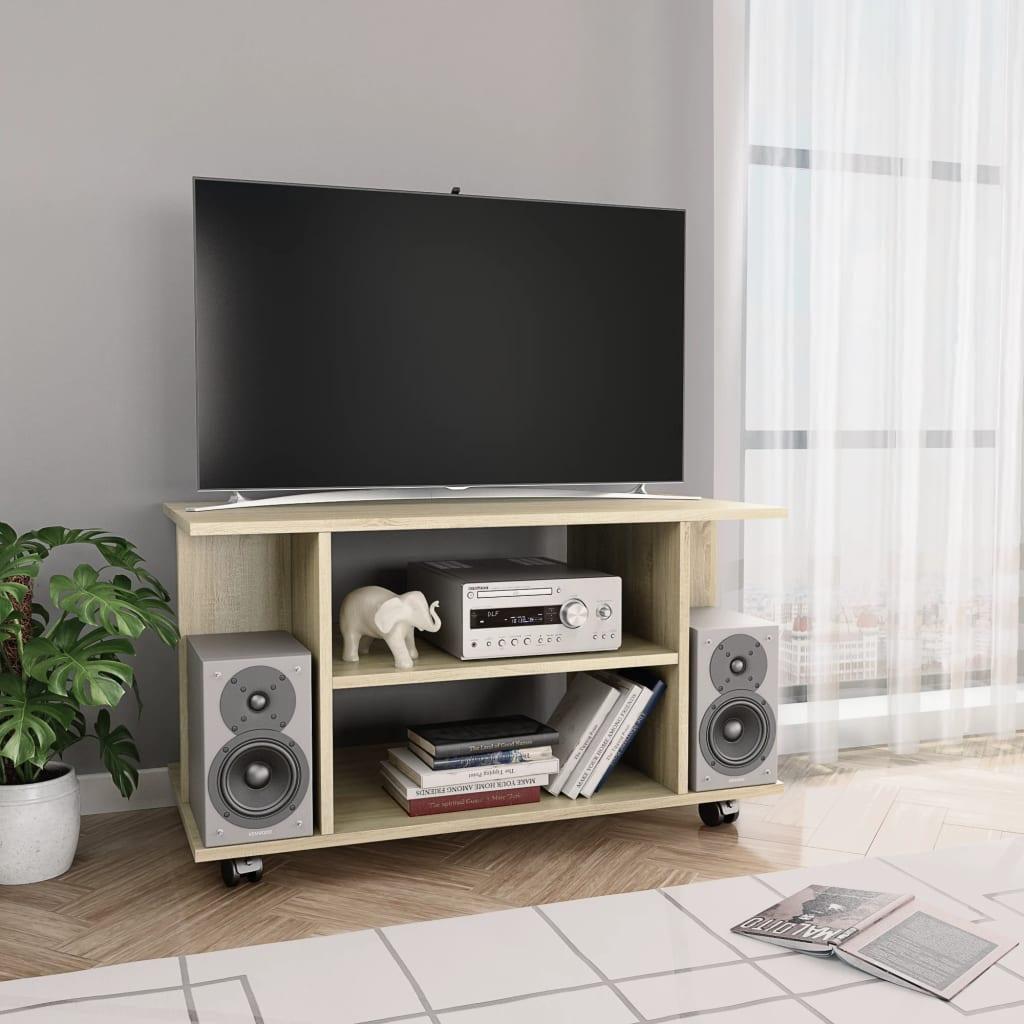 vidaXL Comodă TV cu rotile, stejar Sonoma, 80 x 40 x 40 cm, PAL poza 2021 vidaXL
