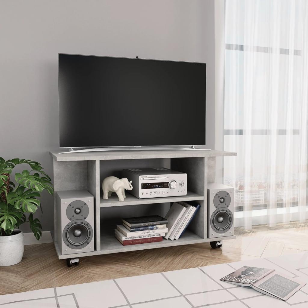 TV stolek s kolečky betonově šedý 80 x 40 x 40 cm dřevotříska