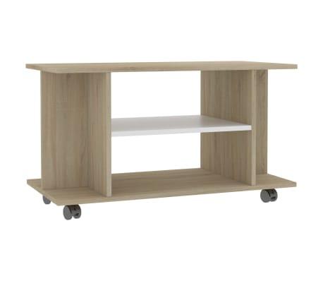 "vidaXL TV Cabinet with Castors White and Sonoma Oak 31.5""x15.7""x15.7"" Chipboard"