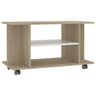 "vidaXL TV Cabinet with Castors White and Sonoma Oak 31.5""x15.7""x15.7"" Chipboard[2/6]"
