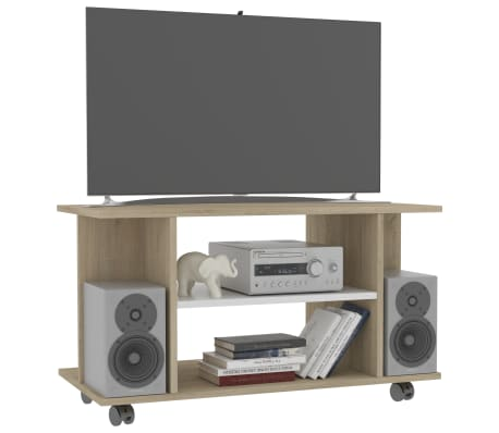 "vidaXL TV Cabinet with Castors White and Sonoma Oak 31.5""x15.7""x15.7"" Chipboard[3/6]"