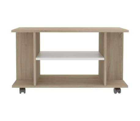 "vidaXL TV Cabinet with Castors White and Sonoma Oak 31.5""x15.7""x15.7"" Chipboard[4/6]"