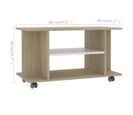 "vidaXL TV Cabinet with Castors White and Sonoma Oak 31.5""x15.7""x15.7"" Chipboard[6/6]"