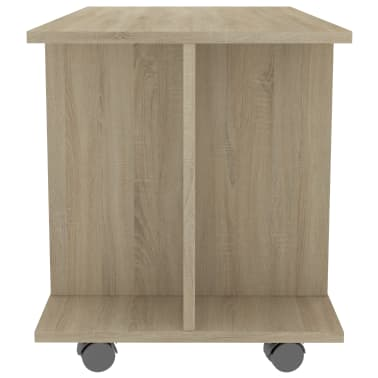 "vidaXL TV Cabinet with Castors White and Sonoma Oak 31.5""x15.7""x15.7"" Chipboard[5/6]"