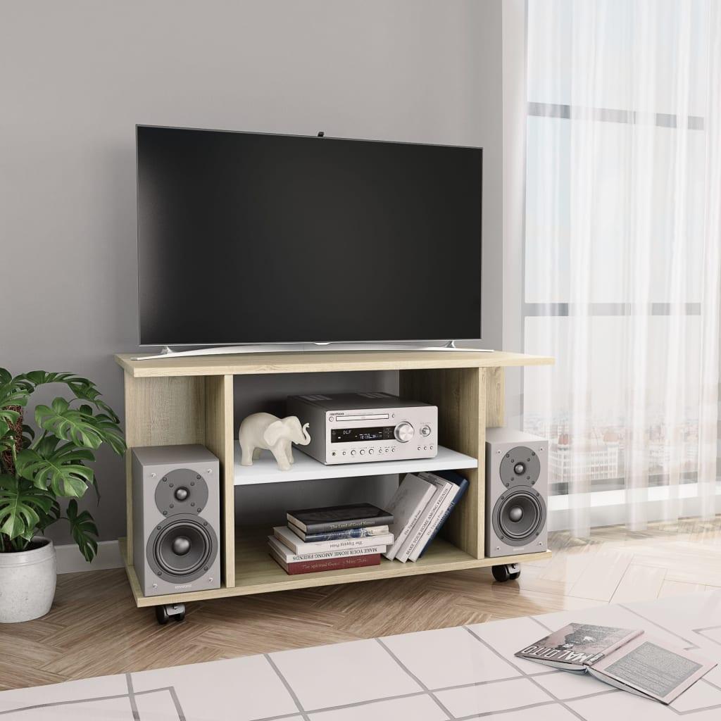 TV stolek s kolečky bílý a dub sonoma 80x40x40 cm dřevotříska