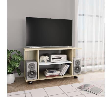 "vidaXL TV Cabinet with Castors White and Sonoma Oak 31.5""x15.7""x15.7"" Chipboard[1/6]"