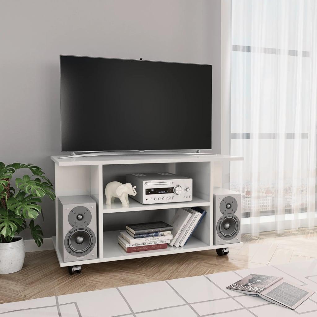 vidaXL Comodă TV cu rotile, alb foarte lucios, 80 x 40 x 40 cm, PAL poza 2021 vidaXL