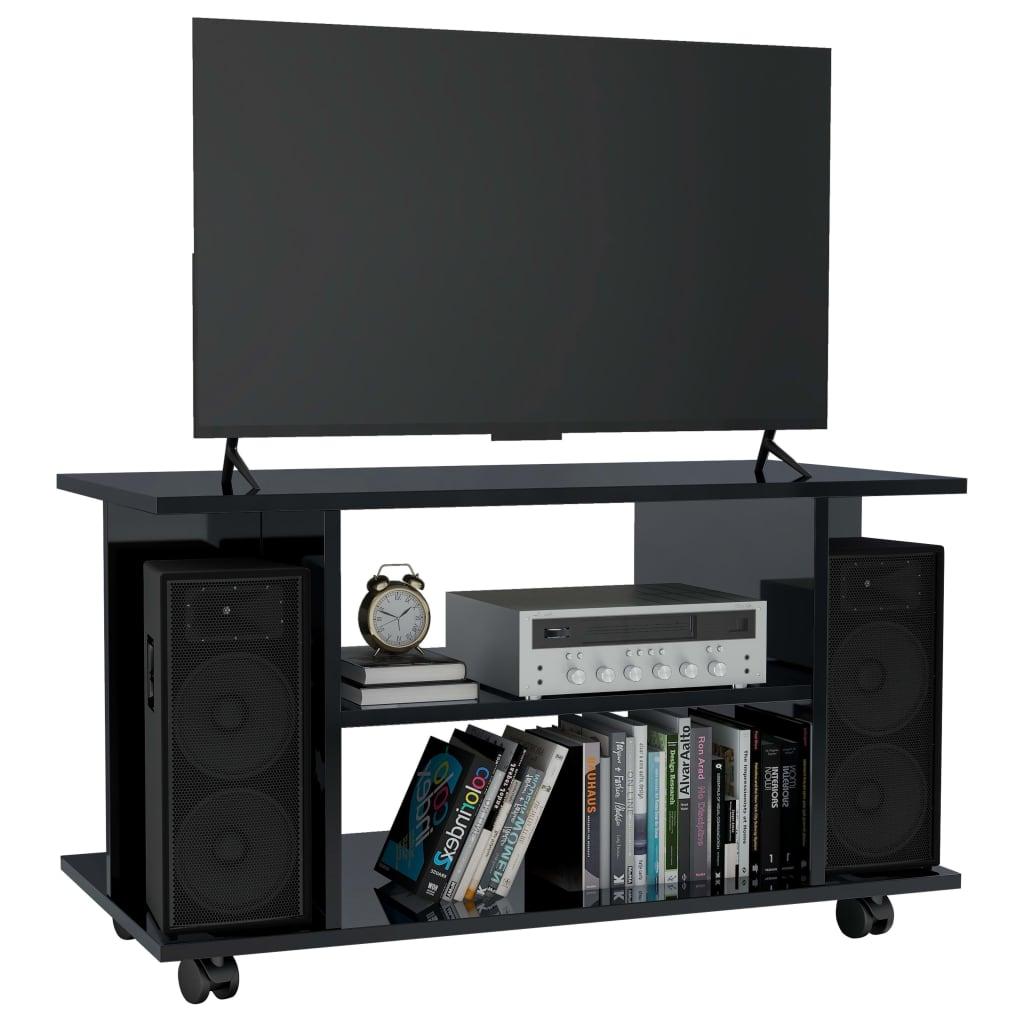999800196 TV-Schrank mit Rollen Hochglanz-Schwarz 80×40×40 cm Spanplatte