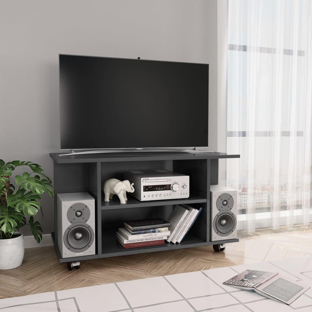 TV stolek s kolečky šedý vysoký lesk 80x40x40 cm dřevotříska