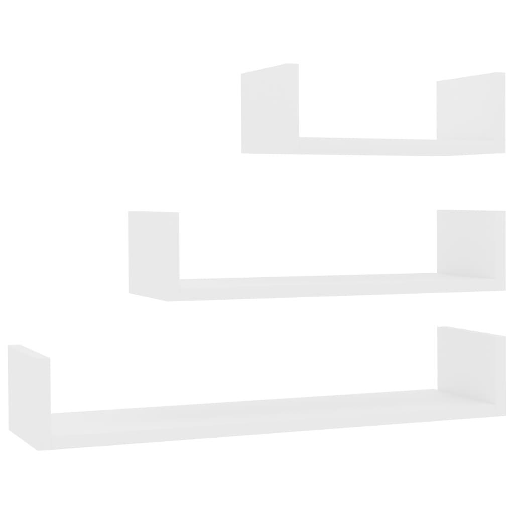 vidaXL Ράφια Τοίχου 3 τεμ. Λευκά από Μοριοσανίδα