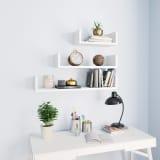 vidaXL Wall Display Shelf 3 pcs White Chipboard
