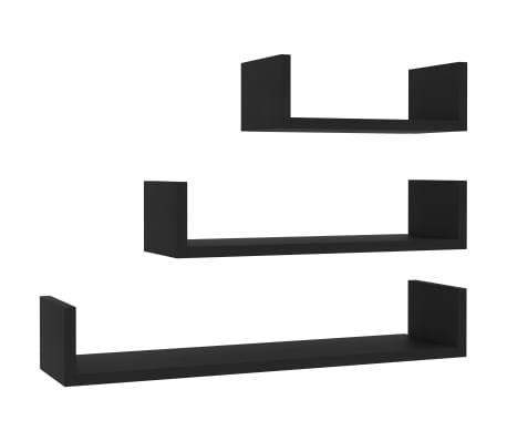 vidaXL Wall Display Shelf 3 pcs Black Chipboard[2/6]