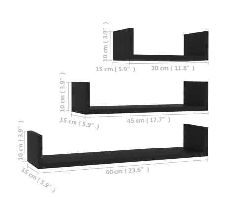 vidaXL Wall Display Shelf 3 pcs Black Chipboard[6/6]
