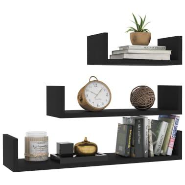 vidaXL Wall Display Shelf 3 pcs Black Chipboard[3/6]