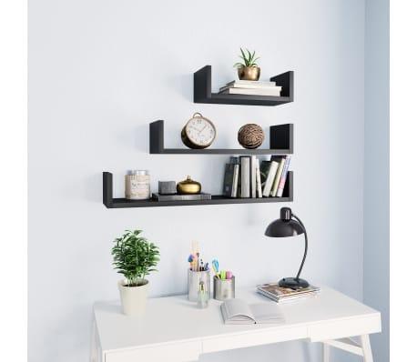 vidaXL Wall Display Shelf 3 pcs Black Chipboard[1/6]