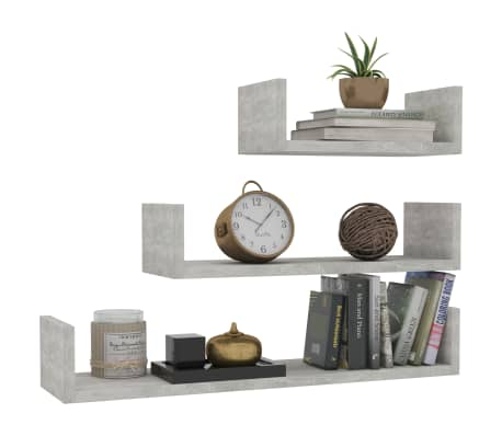 vidaXL Wall Display Shelf 3 pcs Concrete Gray Chipboard[3/6]