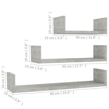 vidaXL Wall Display Shelf 3 pcs Concrete Gray Chipboard[6/6]