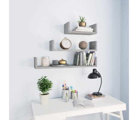 vidaXL Wall Display Shelf 3 pcs Concrete Gray Chipboard[1/6]