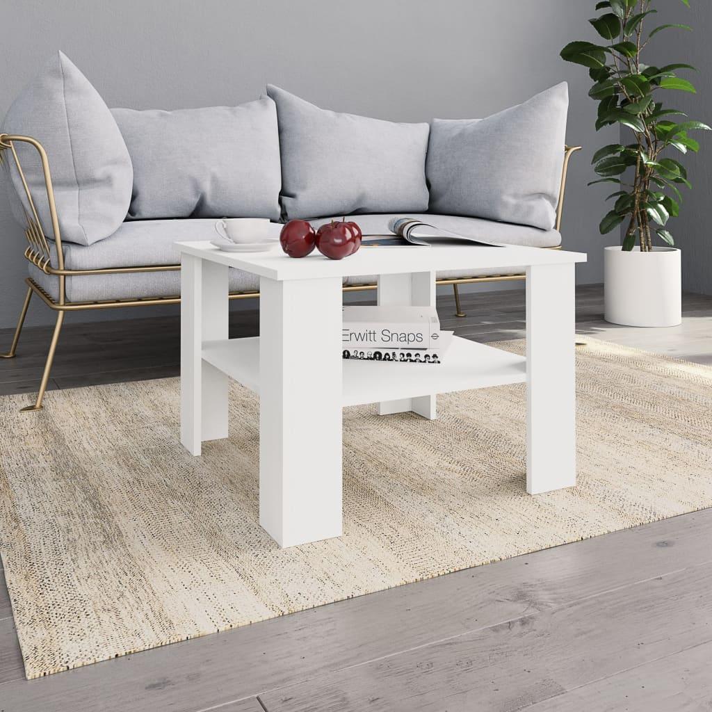Konferenční stolek bílý 60 x 60 x 42 cm dřevotříska