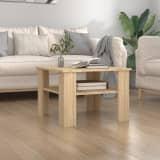 vidaXL kafijas galdiņš, 60x60x42 cm, ozolkoka krāsā, skaidu plāksne