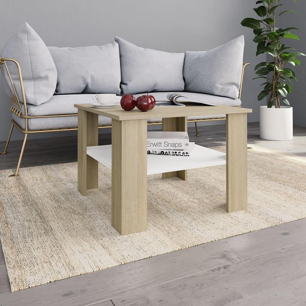 Konferenční stolek bílý a dub sonoma 60x60x42 cm dřevotříska