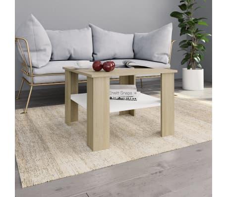 Vidaxl Table Basse Blanc Et Chene Sonoma 60 X 60 X 42 Cm Agglomere