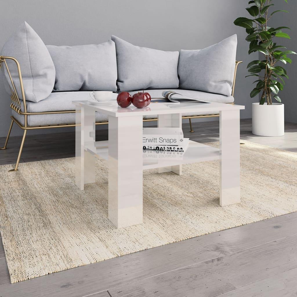 Konferenční stolek bílý vysoký lesk 60x60x42 cm dřevotříska