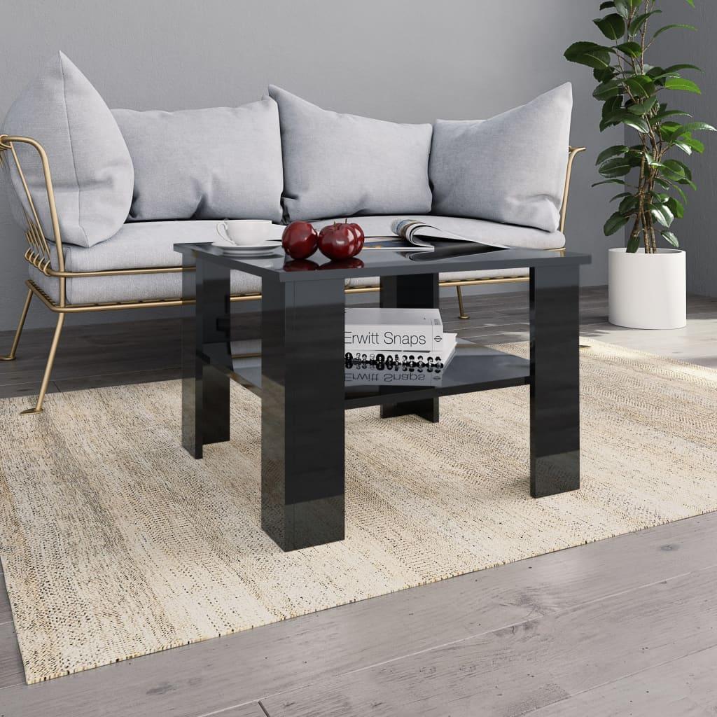 Konferenční stolek černý vysoký lesk 60x60x42 cm dřevotříska