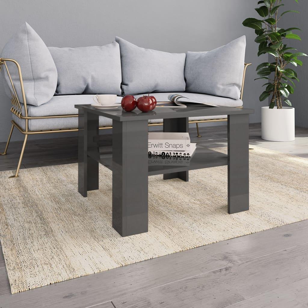 Konferenční stolek šedý vysoký lesk 60 x 60 x 42 cm dřevotříska
