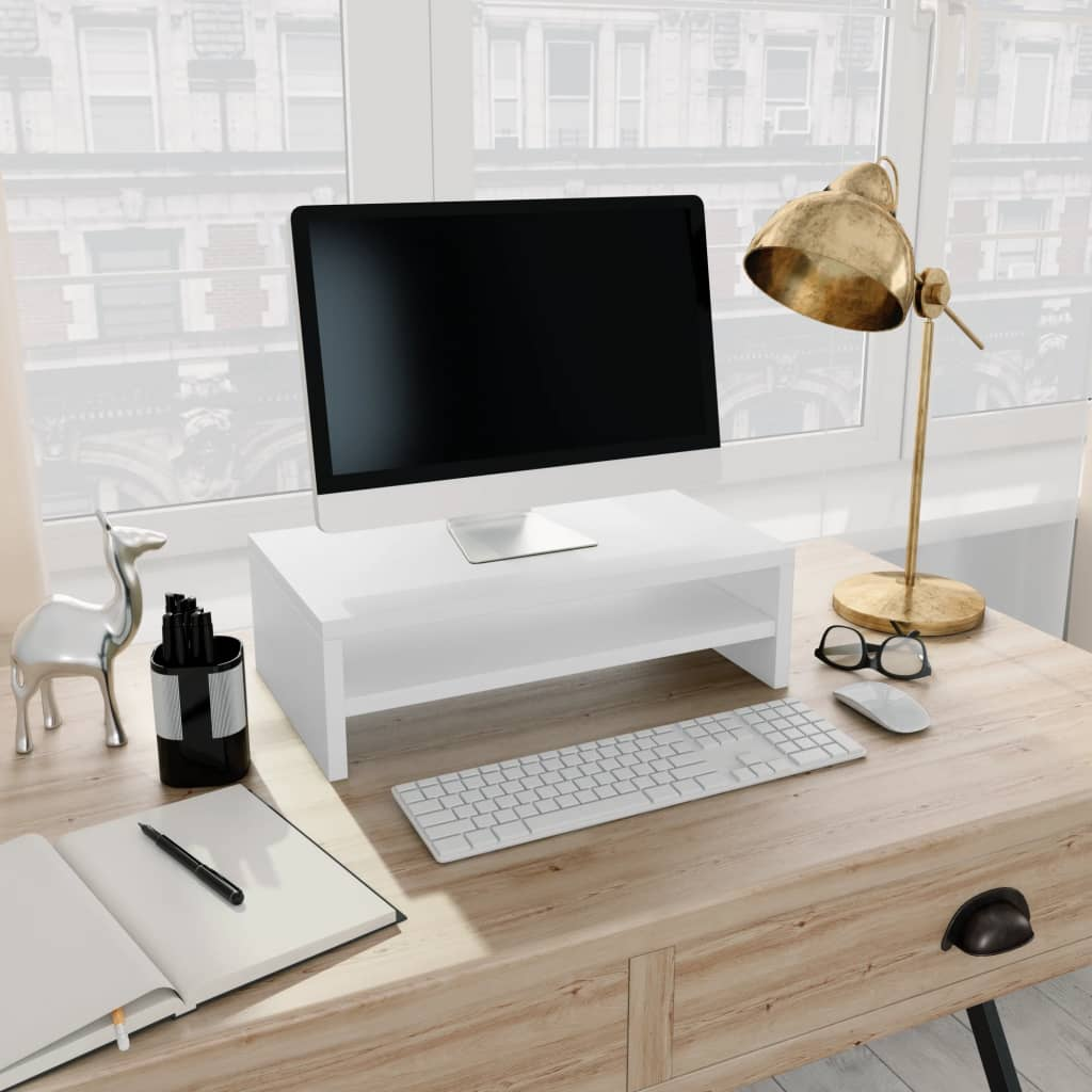Stojan na monitor bílý 42 x 24 x 13 cm dřevotříska