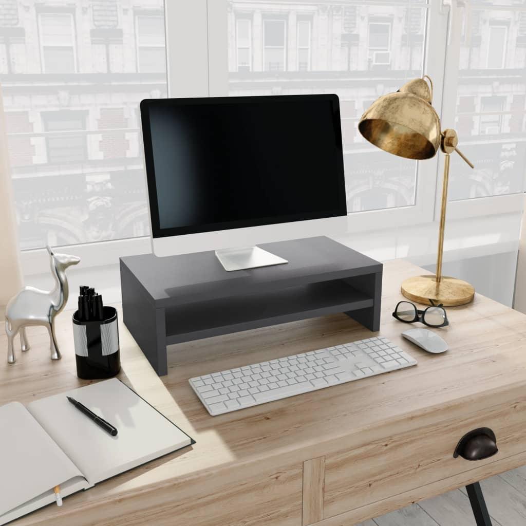 Stojan na monitor šedý 42 x 24 x 13 cm dřevotříska