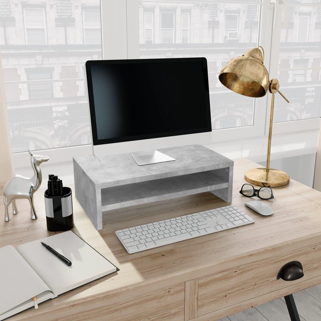 Stojan na monitor betonově šedý 42 x 24 x 13 cm dřevotříska