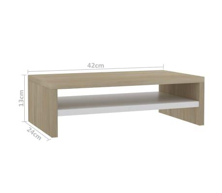 vidaXL Monitoriaus stovas, baltos ir son. ąžuolo sp., 42x24x13cm, MDP[6/6]