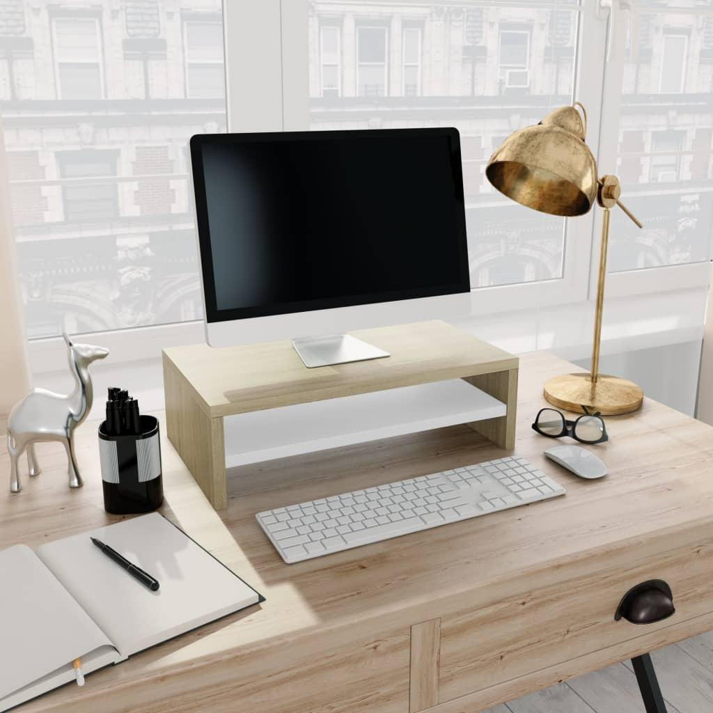 Stojan na monitor bílý a dub sonoma 42 x 24 x 13 cm dřevotříska